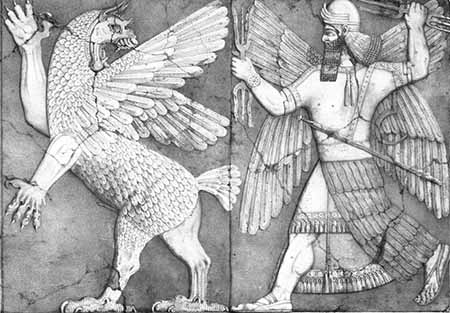 Marduk and Tiamat, relief in temple at Nimrud